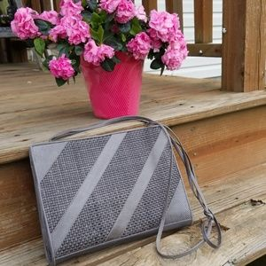Stuart Weitzman gray leather shoulder bag